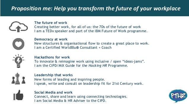 Proposition me: Help you transform the future of your workplace The future of work Creating better work, for all of us: th...