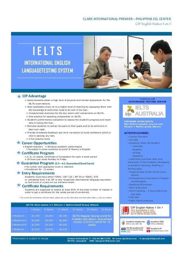 CLARK INTERNATIONAL PREMIER—PHILIPPINE ESL CENTER CIP English Native 1 on 1  IELTS INTERNATIONAL ENGLISH LANGUAGETESTING S...