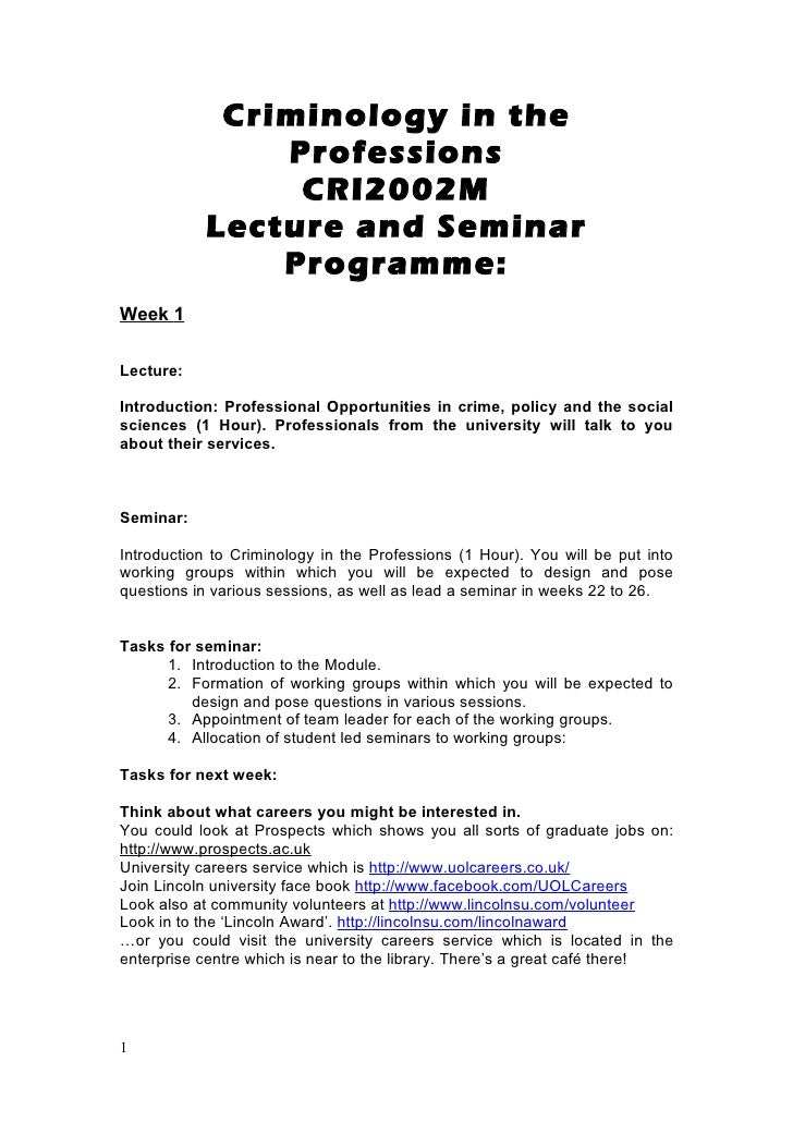 Criminology in the               Professions                CRI2002M           Lecture and Seminar               Programme...