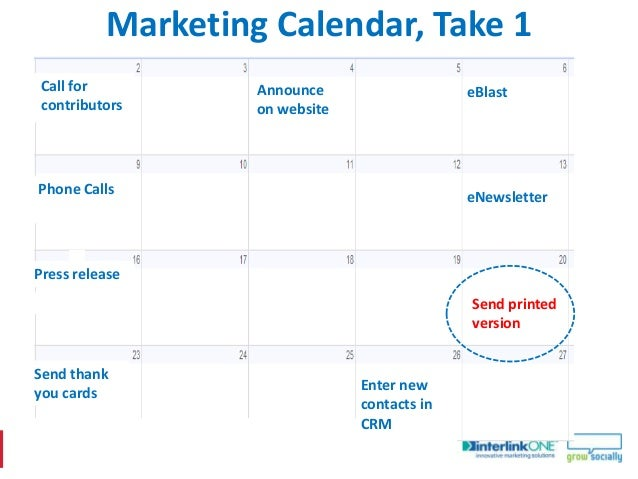 Marketing Calendar, Take 2Call for       Create         Announce      Announce on   eBlastcontributors   Post, Link     on...