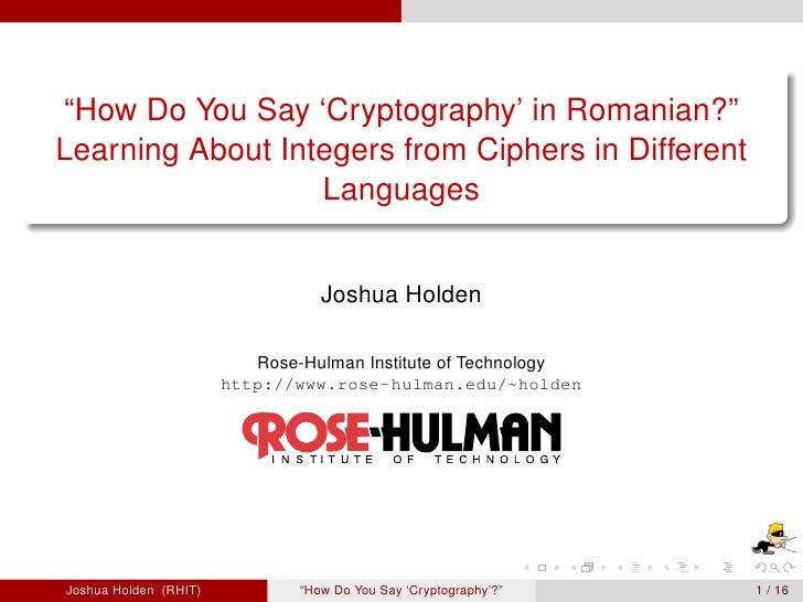 """How Do You Say 'Cryptography' in Romanian?"" Learning About Integers from Ciphers in Different                   Languages..."