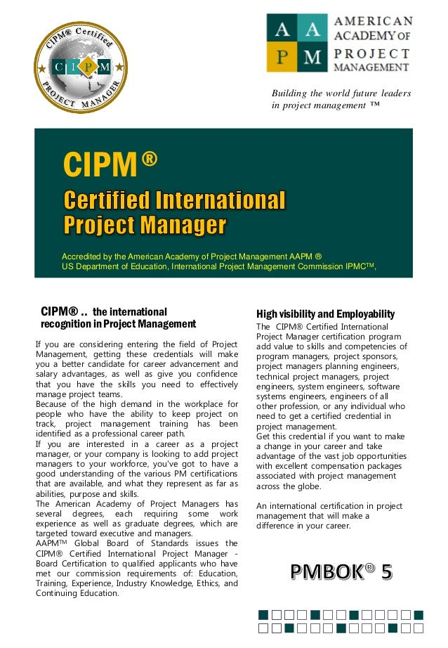 Certified International Project Manager Aapm Certification By Sysen