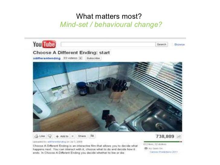 What matters most?   Mind-set / behavioural change?
