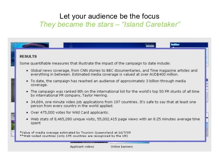 """Let your audience be the focus They became the stars – """"Island Caretaker"""""""