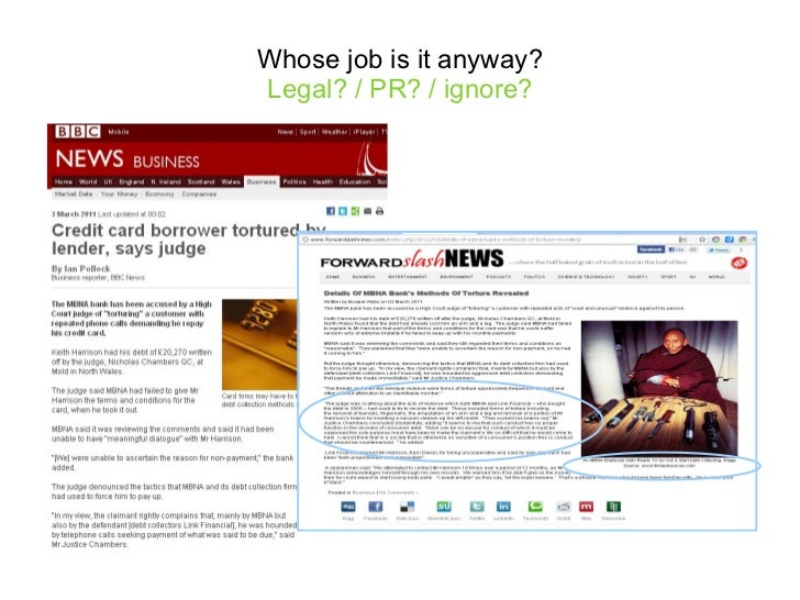 Whose job is it anyway? Legal? / PR? / ignore?