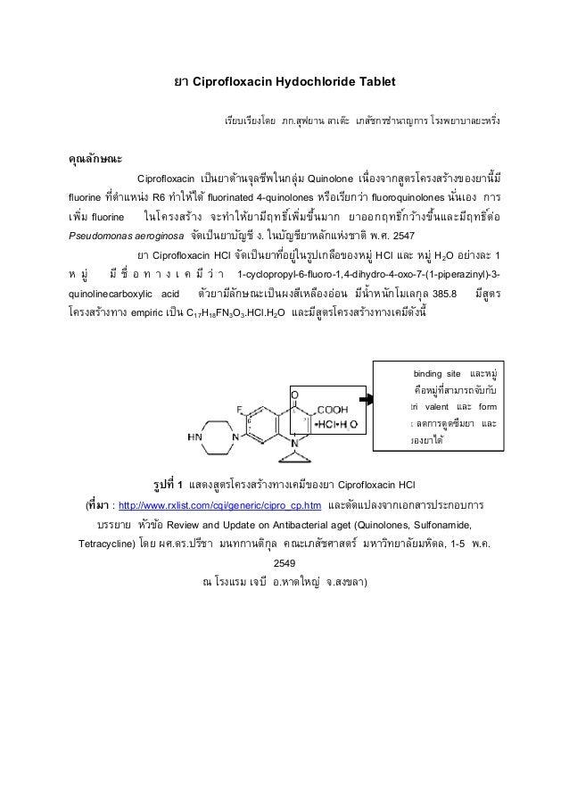 ยา Ciprofloxacin Hydochloride Tablet คุณลักษณะ Ciprofloxacin เป็นยาต้านจุลชีพในกลุ่ม fluorine ทีตําแหน่ง R6 ทําให้ได้ เพิม...