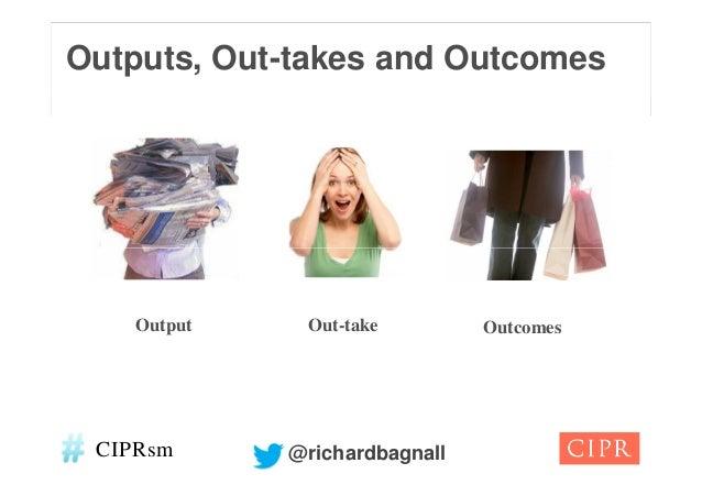 Outputs, Out-takes and Outcomes    Output    Out-take         Outcomes CIPRsm      @richardbagnall
