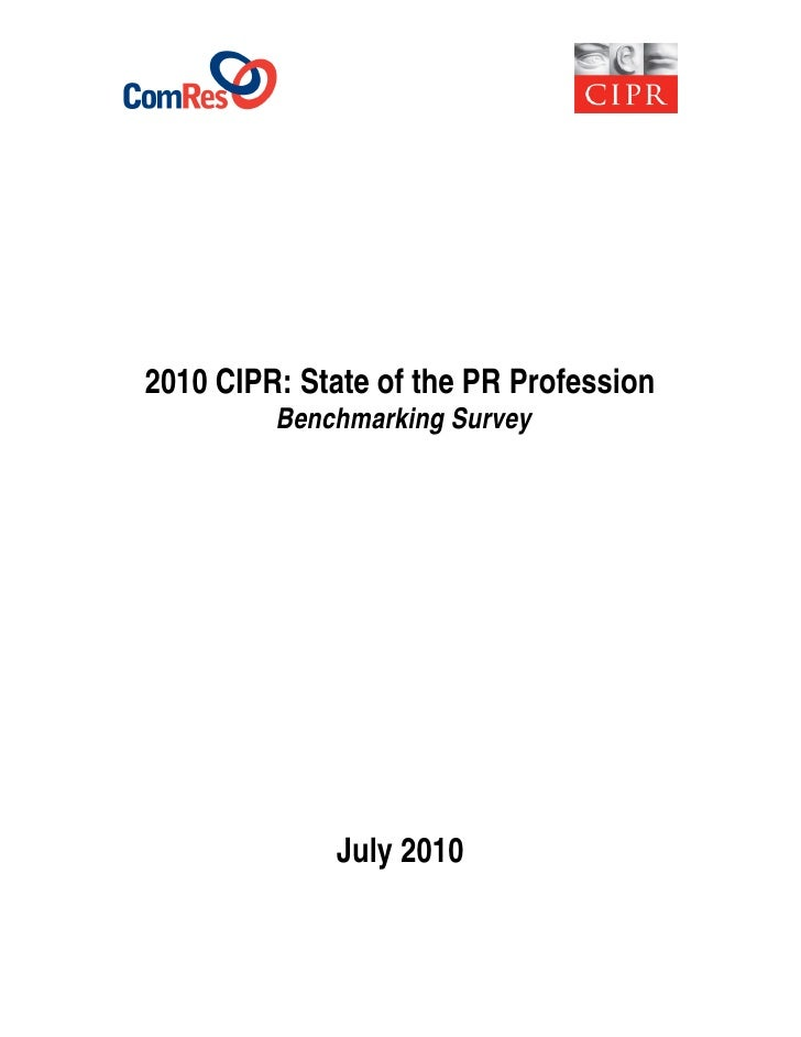 CIPR state of the profession benchmarking survey 2010