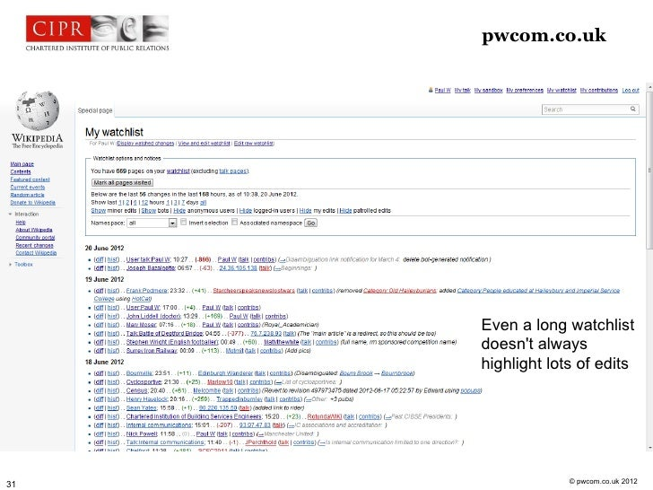 pwcom.co.uk     Editing Wikipedia                         Even a long watchlist                         doesnt always     ...