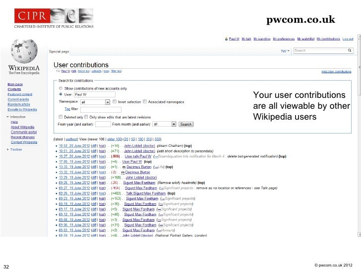 pwcom.co.uk     Your user contributions     are all viewable by other     Wikipedia users                    © pwcom.co.uk...