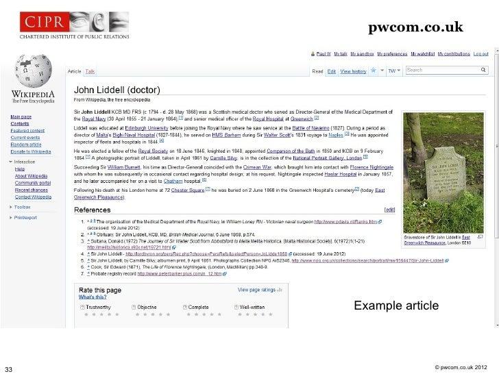 pwcom.co.uk     Example article                   © pwcom.co.uk 201233
