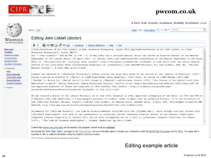 pwcom.co.uk     Editing example article                               © pwcom.co.uk 201234