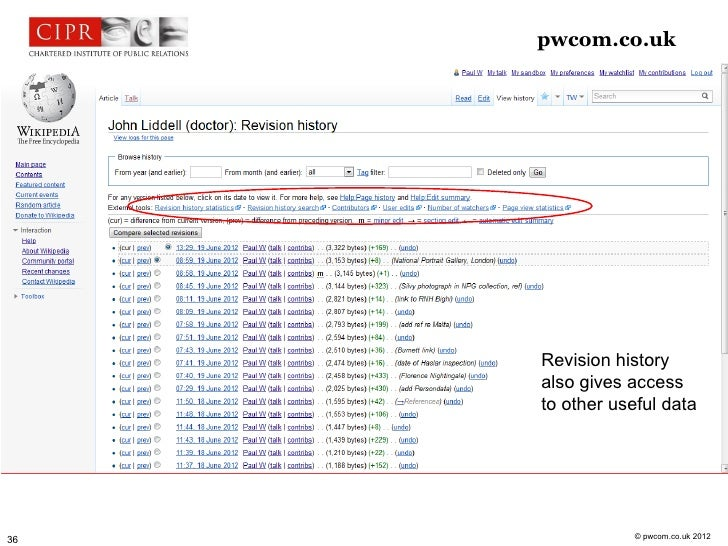 pwcom.co.uk     Revision history     also gives access     to other useful data                 © pwcom.co.uk 201236