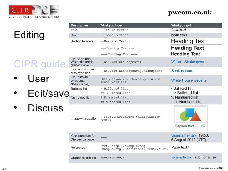 pwcom.co.uk     Editing     CIPR guide             User             Edit/save             Discuss                      ...