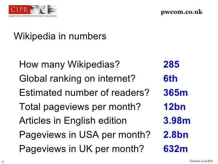 pwcom.co.uk    Wikipedia in numbers     How many Wikipedias?           285     Global ranking on internet?    6th     Esti...