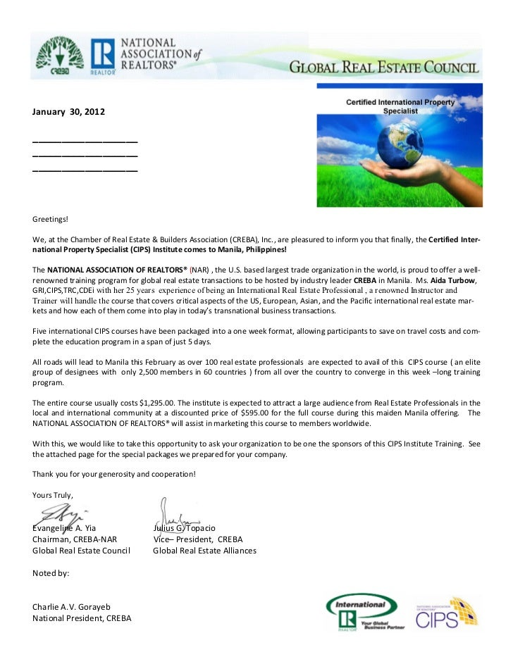 Cips Sponsorship Letter Template - Real estate letter templates