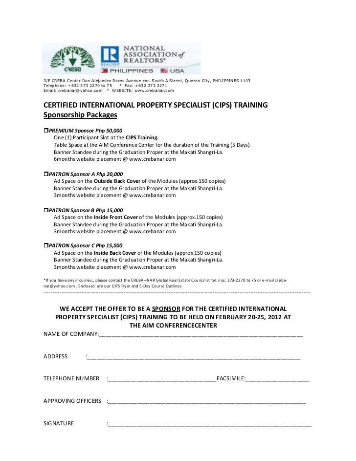 Cips sponsorship letter template 2 altavistaventures Images