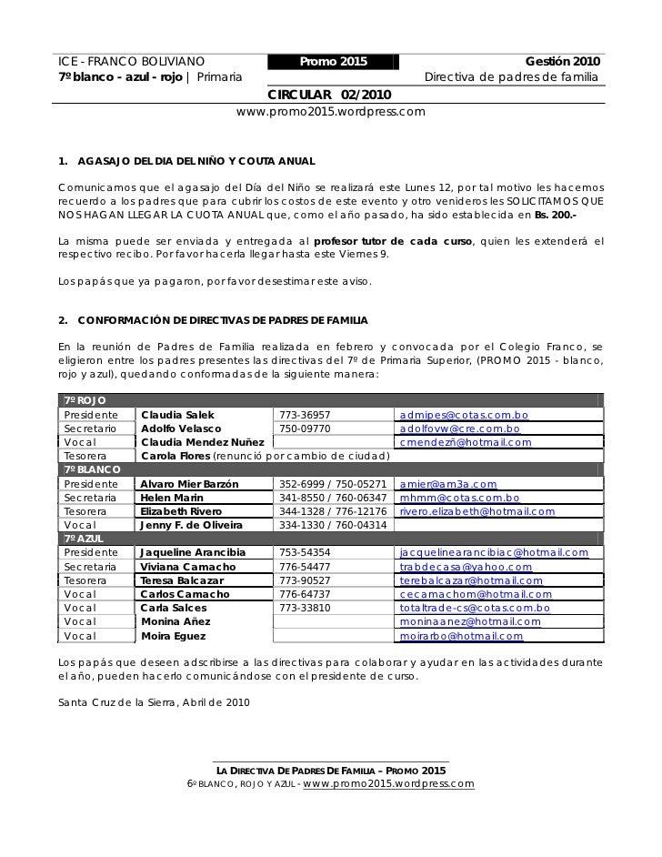 ICE - FRANCO BOLIVIANO                       Promo 2015                               Gestión 2010 7º blanco - azul - rojo...