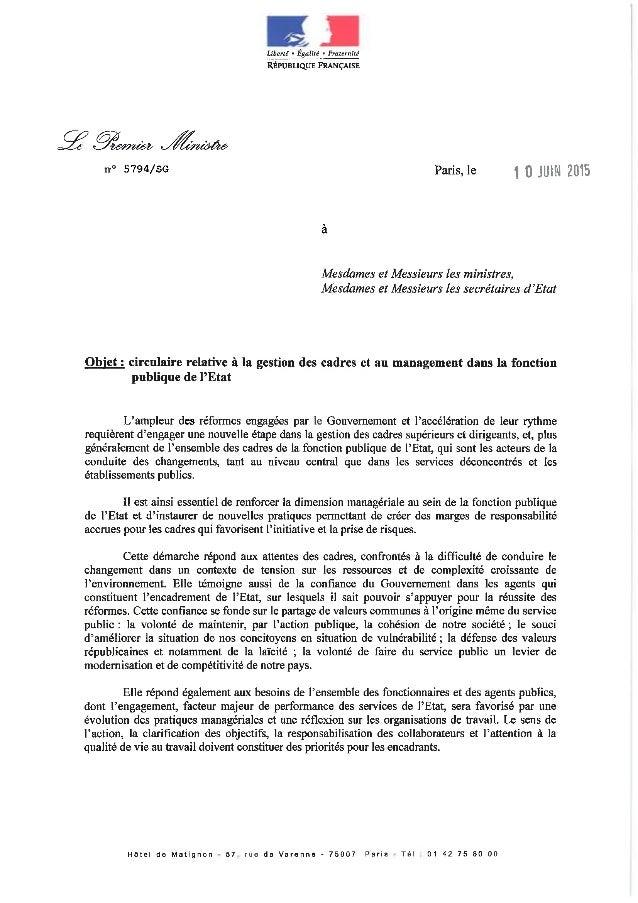 '7 ,  , Libert!  - Egulité - Fraternité Réruaiiqur FRANCAISE  n° 5794/S6 Paris,1e 1 0 Jun 2015  Mesdames et Messieurs les ...