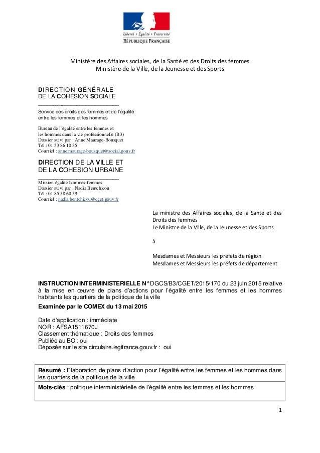1 Ministère des Affaires sociales, de la Santé et des Droits des femmes Ministère de la Ville, de la Jeunesse et des Sport...