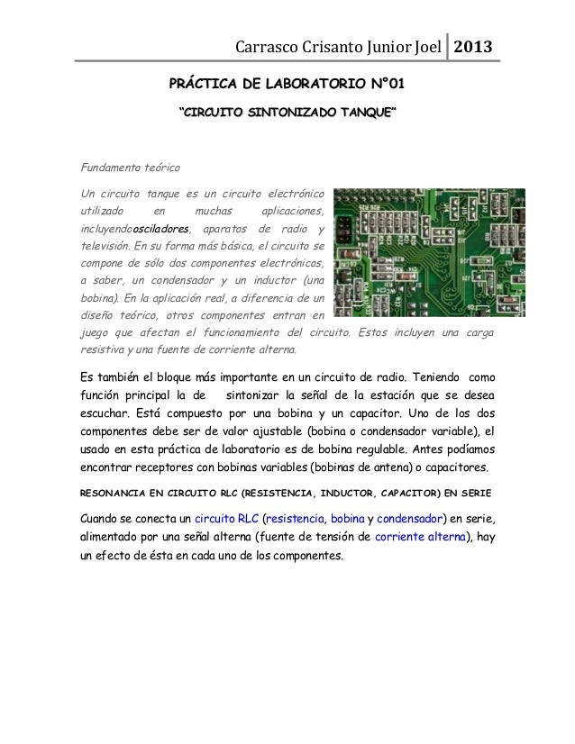 "Carrasco Crisanto Junior Joel 2013 PRÁCTICA DE LABORATORIO N°01PRÁCTICA DE LABORATORIO N°01 """"CIRCUITO SINTONIZADO TANQUE""..."