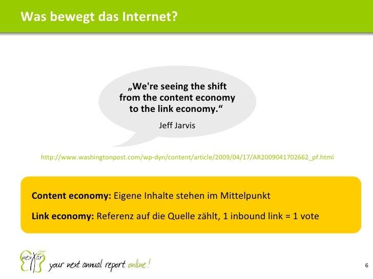 Was bewegt das Internet? http://www.washingtonpost.com/wp-dyn/content/article/2009/04/17/AR2009041702662_pf.html <ul><ul><...