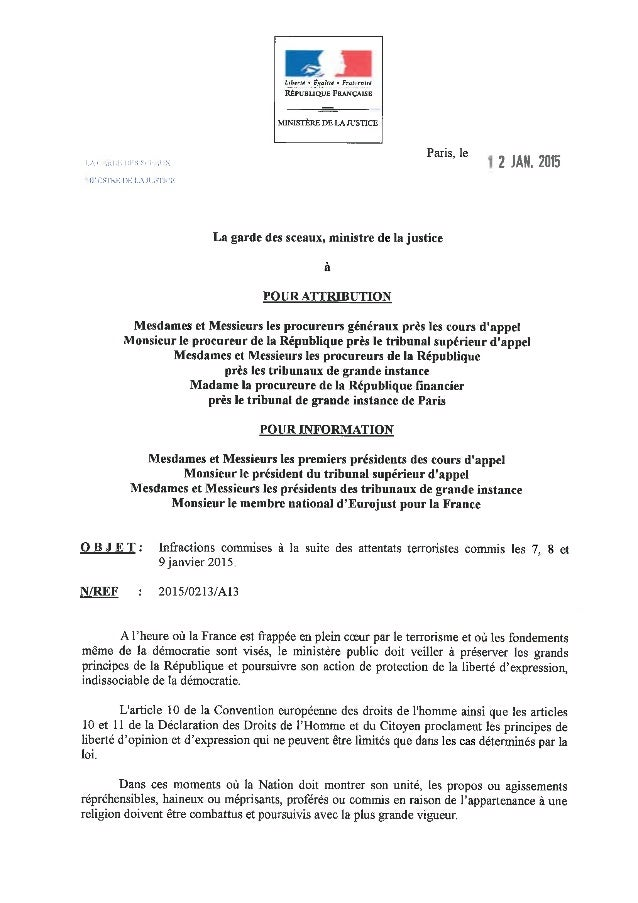 Circulaire 12 janvier 2015 - Ministère Justice