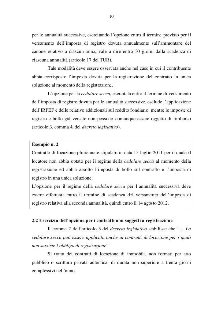 Cedolare secca chiarimenti operativi for Cedolare secca al 10