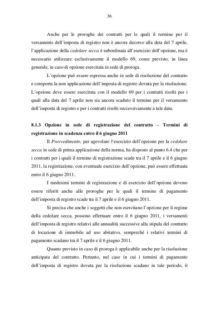 Cedolare secca chiarimenti operativi for Contratto cedolare secca modello
