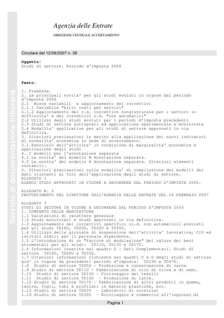 Agenzia delle Entrate                                                          DIREZIONE CENTRALE ACCERTAMENTO            ...