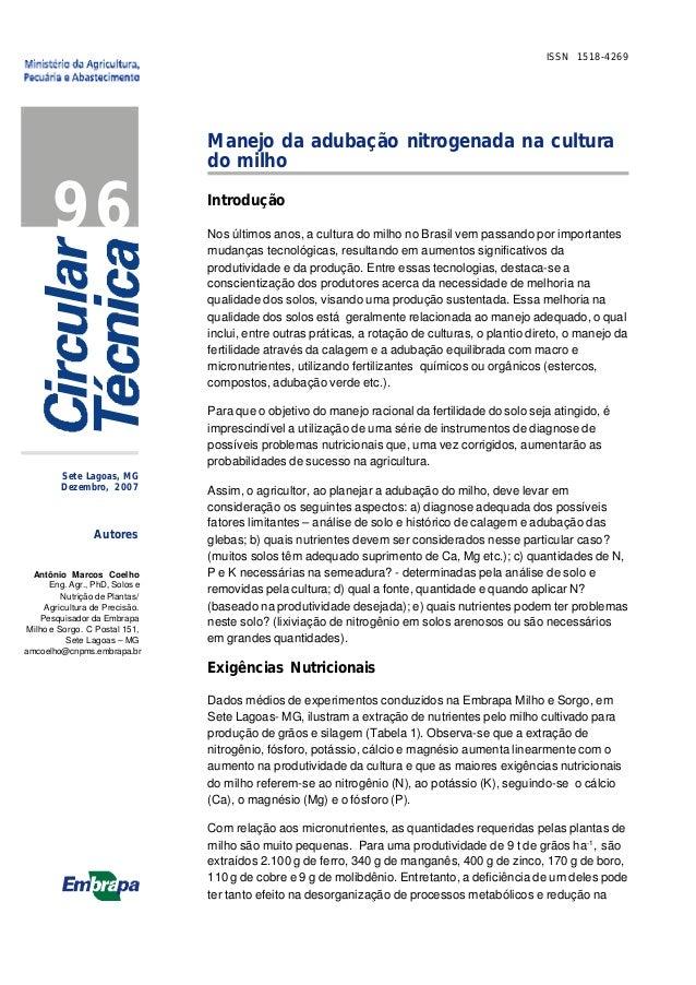 ISSN 1518-4269  96  Manejo da adubação nitrogenada na cultura do milho Introdução Nos últimos anos, a cultura do milho no ...