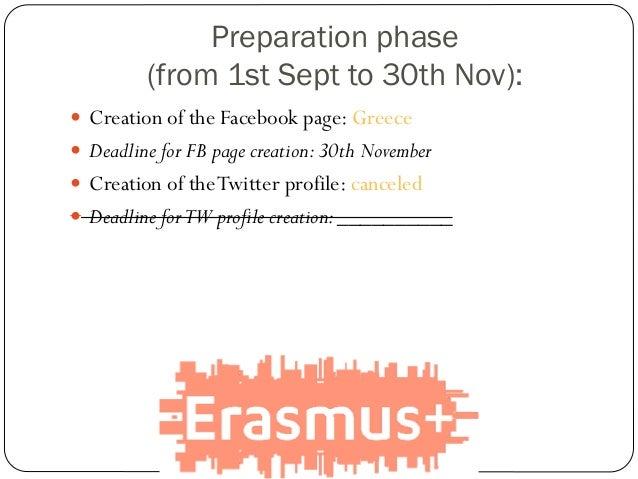  Creation of the Facebook page: Greece  Deadline for FB page creation:30th November  Creation of theTwitter profile: ca...