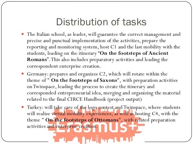 Distribution of tasks  The Italian school, as leader, will guarantee the correct management and precise and punctual impl...