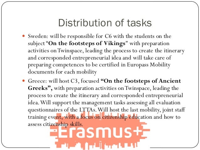 """Distribution of tasks  Sweden: will be responsible for C6 with the students on the subject """"On the footsteps of Vikings"""" ..."""