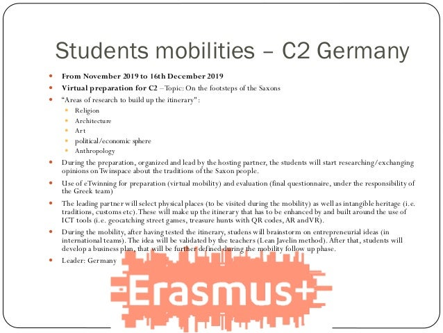 Students mobilities – C2 Germany  From November 2019 to 16th December 2019  Virtual preparation for C2 –Topic: On the fo...