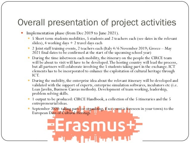 Overall presentation of project activities  Implementation phase (from Dec 2019 to June 2021).  5 Short term students mo...