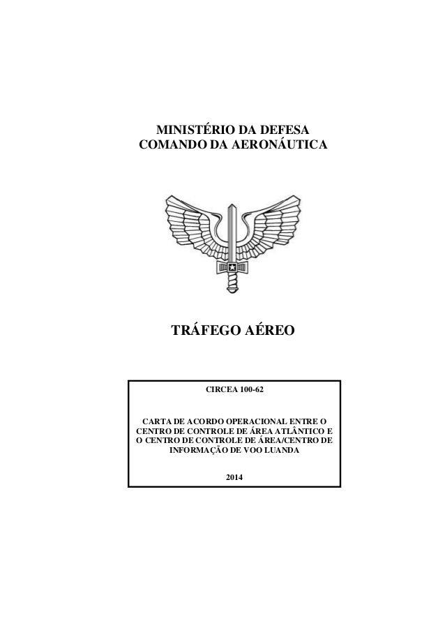 MINISTÉRIO DA DEFESA COMANDO DA AERONÁUTICA TRÁFEGO AÉREO CIRCEA 100-62 CARTA DE ACORDO OPERACIONAL ENTRE O CENTRO DE CONT...