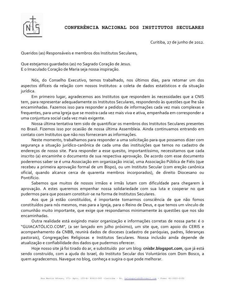 CONFERÊNCIA NACIONAL DOS INSTITUTOS SECULARES                                                                             ...