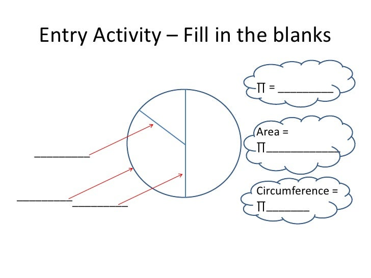 Entry Activity – Fill in the blanks                            ∏ = _________                            Area =  _________ ...