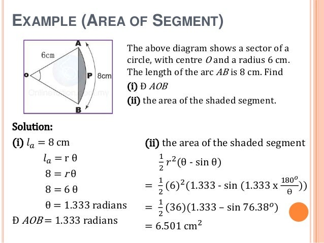 Mathematics circle presentation example area of segment ccuart Gallery