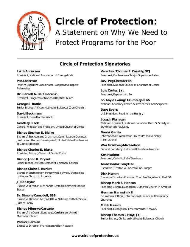 Circle of Protection: A Statement on Why We Need to Protect Programs for the Poor Circle of Protection Signatories Leith A...