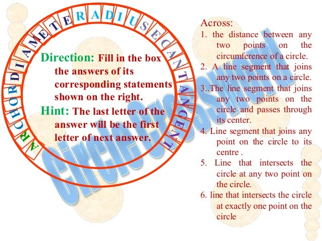 Across: 1. the distance between any two points on the circumference of a circle. 2. A line segment that joins any two poin...