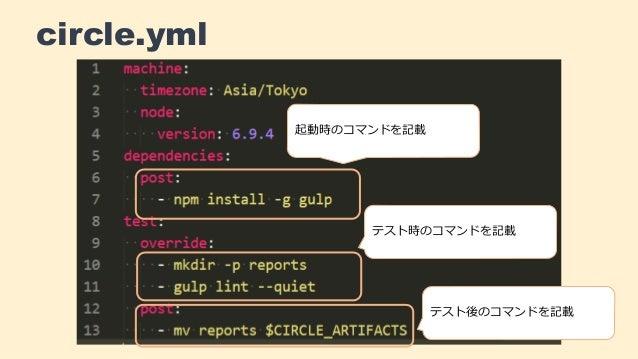 circle.yml 起動時のコマンドを記載 テスト時のコマンドを記載 テスト後のコマンドを記載