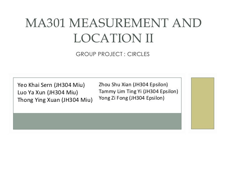 GROUP PROJECT : CIRCLES  MA301 MEASUREMENT AND LOCATION II Yeo Khai Sern (JH304 Miu) Luo Ya Xun (JH304 Miu) Thong Ying Xua...