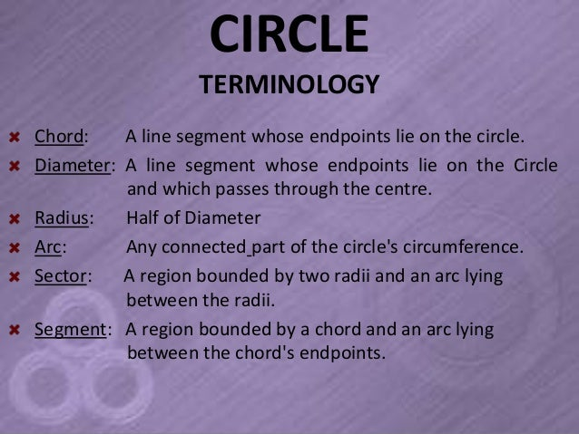CIRCLE                  TERMINOLOGYChord:    A line segment whose endpoints lie on the circle.Diameter: A line segment who...