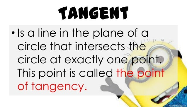 Tangent • Is a line in the plane of a circle that intersects the circle at exactly one point. This point is called the poi...