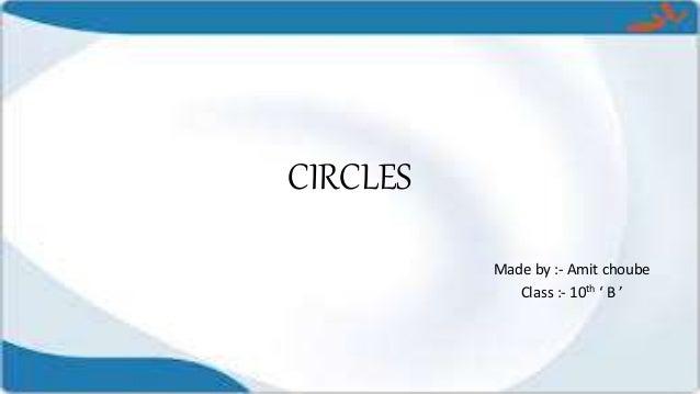 CIRCLES Made by :- Amit choube Class :- 10th ' B '