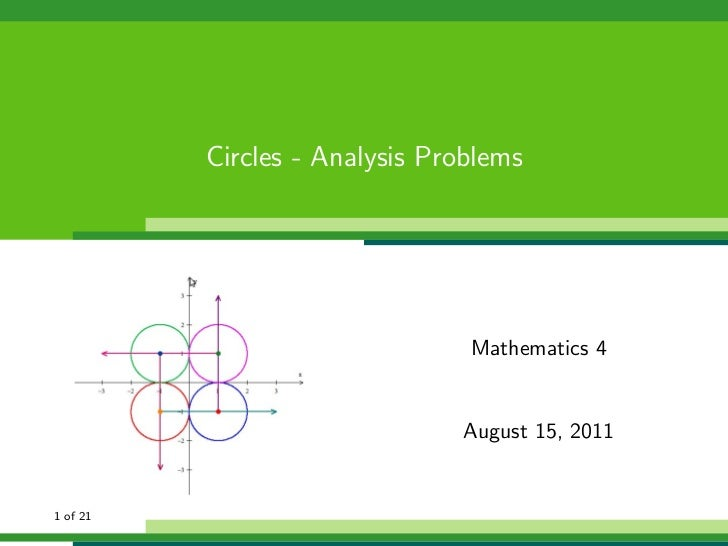 Circles - Analysis Problems                                Mathematics 4                               August 15, 20111 of...