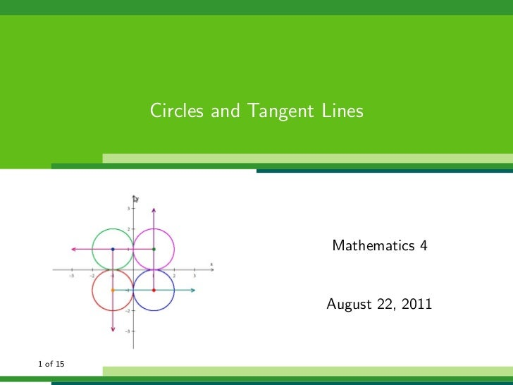 Circles and Tangent Lines                               Mathematics 4                              August 22, 20111 of 15