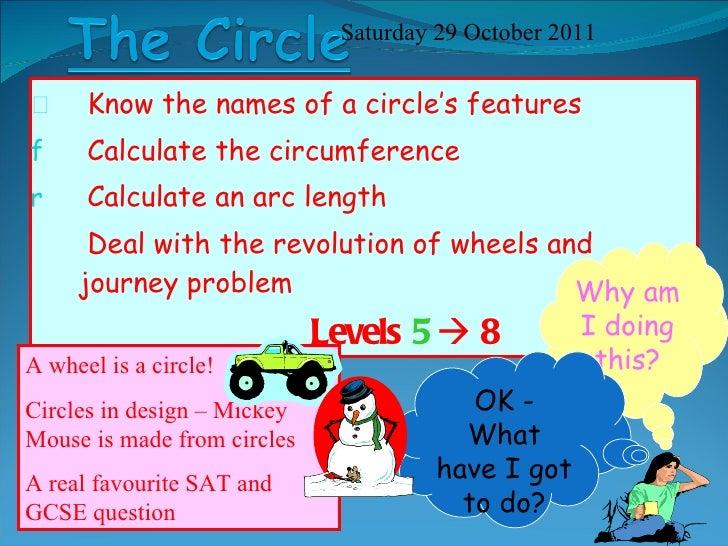 <ul><li>Know the names of a circle's features </li></ul><ul><li>Calculate the circumference  </li></ul><ul><li>Calculate a...